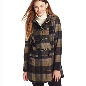 Celebrity Pink Plaid Faux Wool Hooded Coat